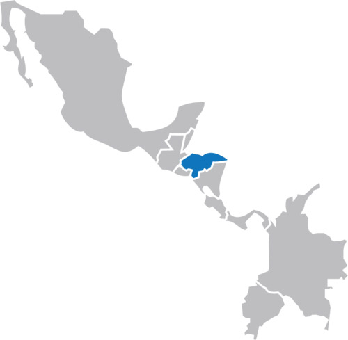 Map of Central America highlighting Honduras
